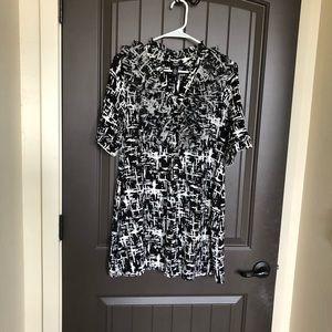 Alfani Geometric Shirred Ruffle Mini Tunic Dress